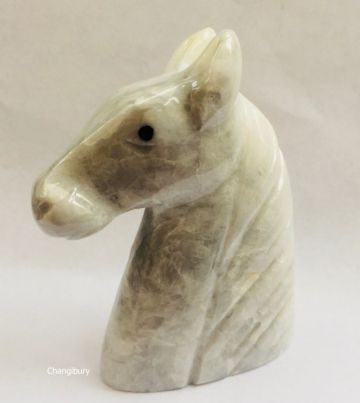 Small Marble WHITE HORSE HEAD Lucky Decorative Ornament Stone